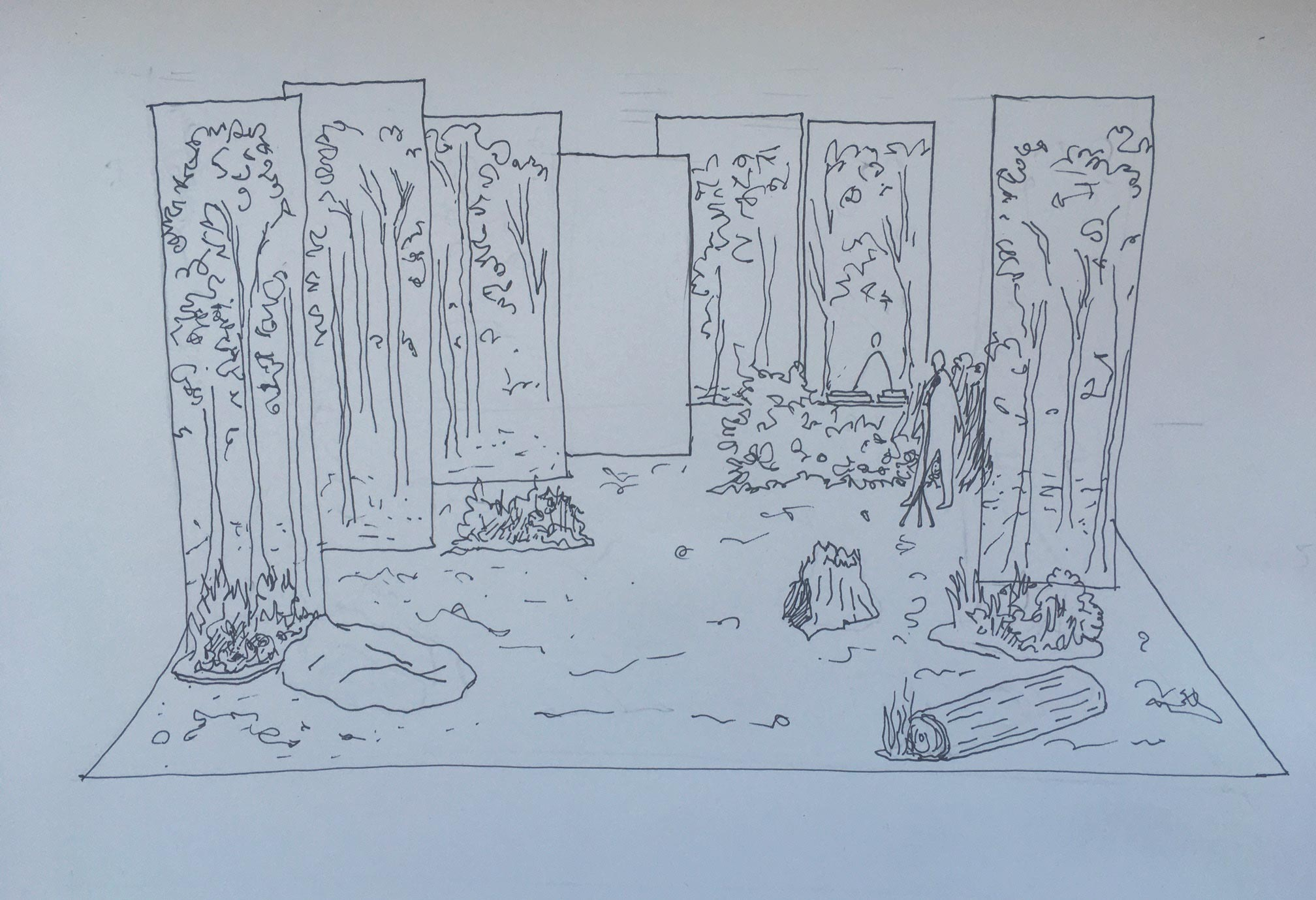 A preliminary sketch of stage design by Marie Szersnovicz